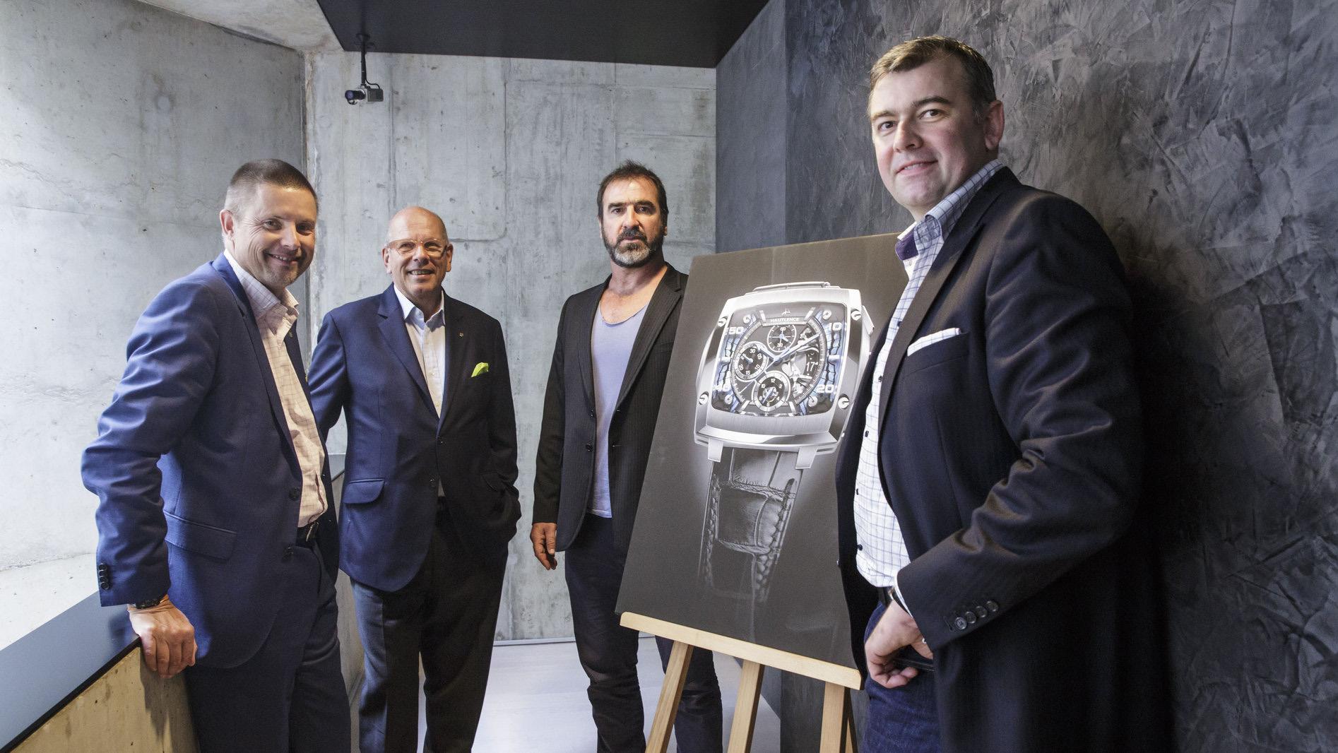 Hautlence management team with brand ambassador Eric Cantona