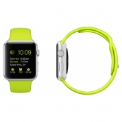 Apple Watch Sport - 42mm Silver Aluminum Case with Green Sport Band