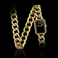 Chanel Premiere Double Row Chain Bracelet, Yellow Gold and Diamonds