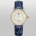 Michele CSX Elegance Two-Tone Gold Diamond Dial Navy Blue Alligator Leather