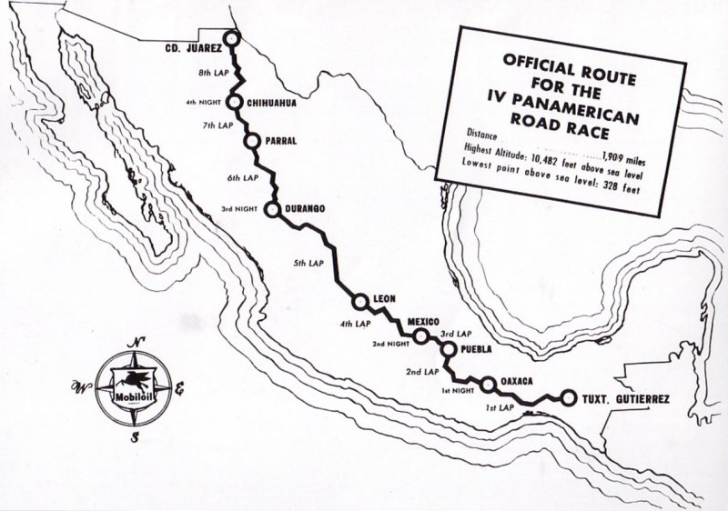 Official Route for the IV Panamerican Road Race