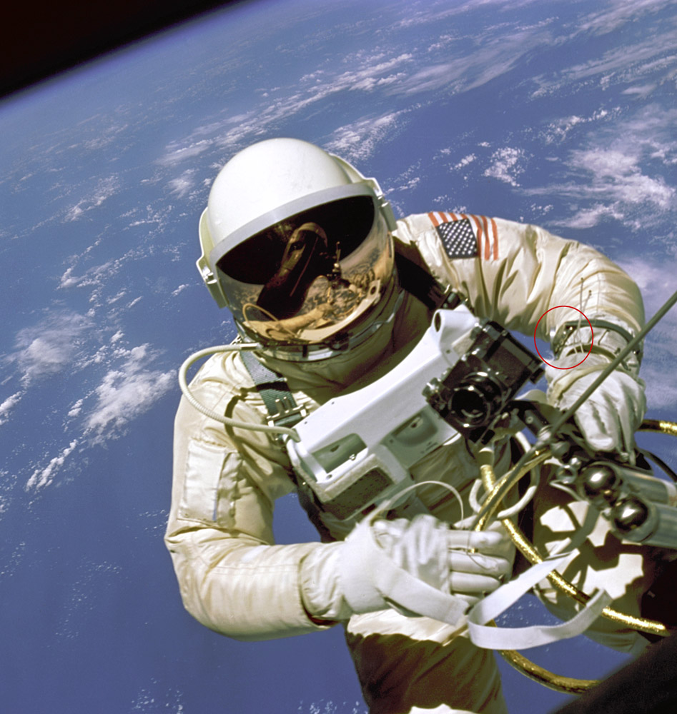 Ed White wearing Omega Speedmaster in Space (1965)