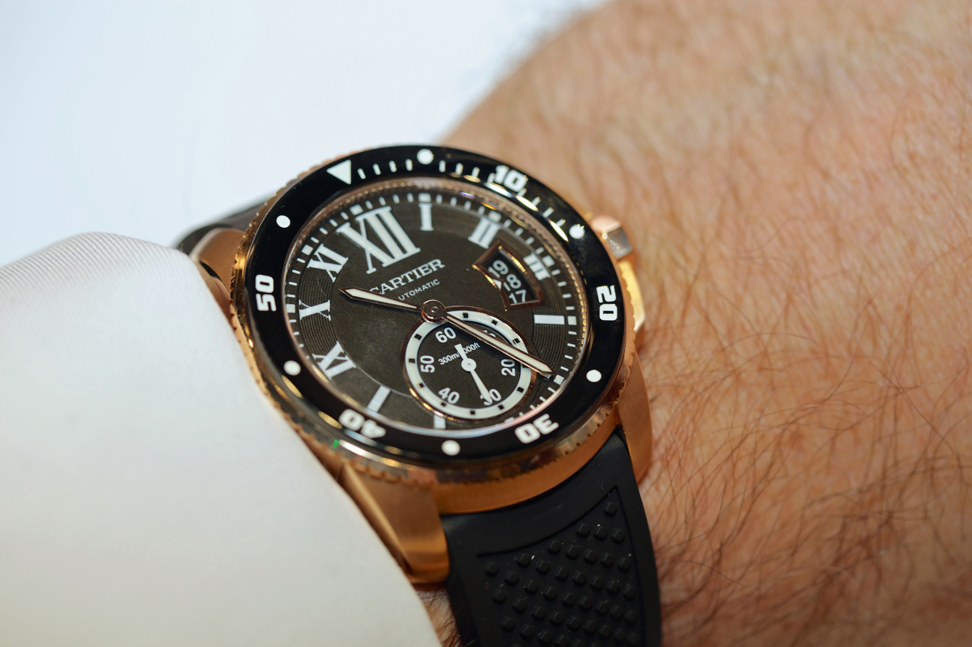 Calibre de Cartier Diver Watch 42mm Pink Gold - Wristshot