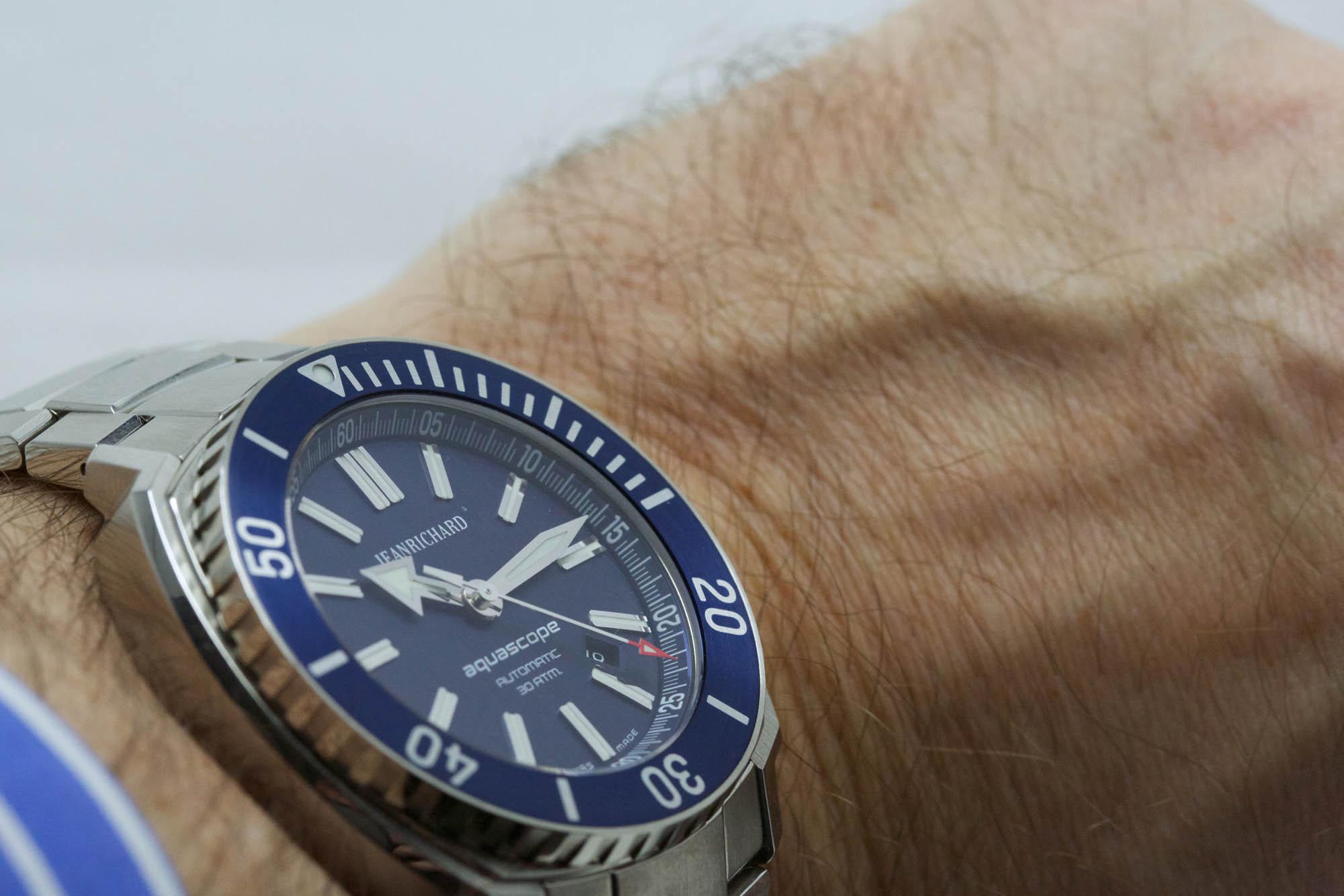 JeanRichard Aquascope Blue Dial - Wristshot