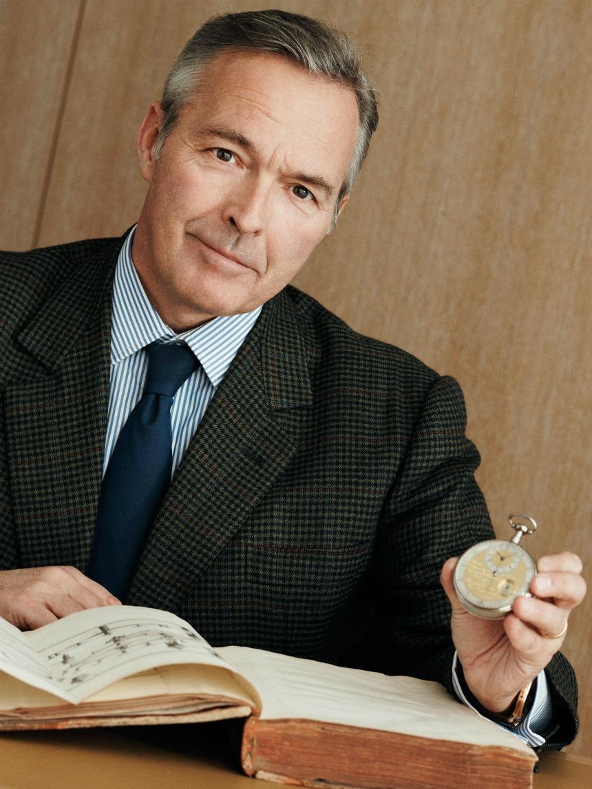 Karl F. Scheufele presenting Ferdinand Berthoud watch and book.
