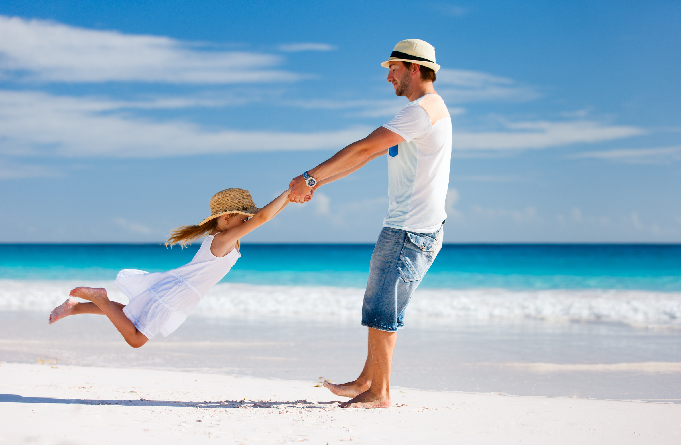 Father and daughter at beach (Bahamas)