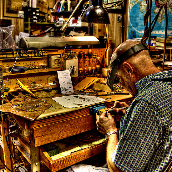 Watchmaker at Workbench