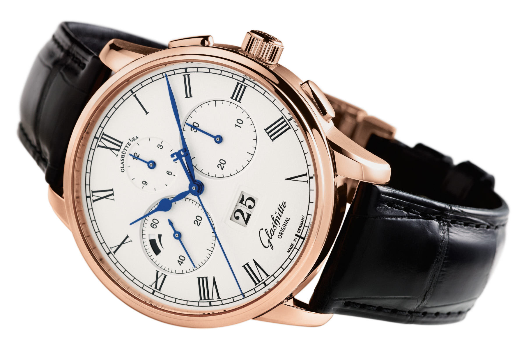 Glashütte Senator Chronograph Panorama Date Red Gold