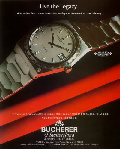 Vacheron Constantin 222 (Bucherer NY Catalogue Advertising)