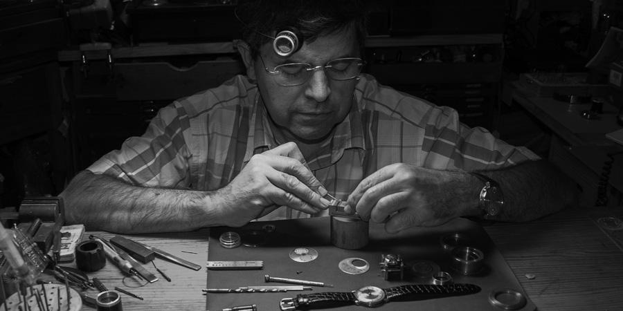 Watchmaker Mr Aniceto Jiménez Pita at work...