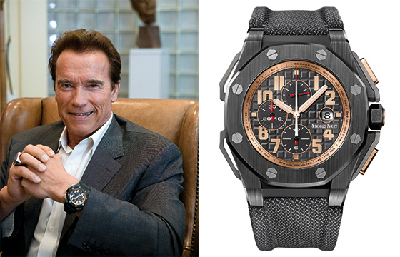 Arnold Schwarzenegger wearing his Royal Oak Offshore