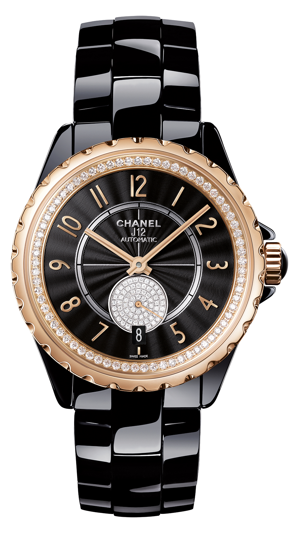 Chanel J12 Beige Gold (Black with Diamonds)