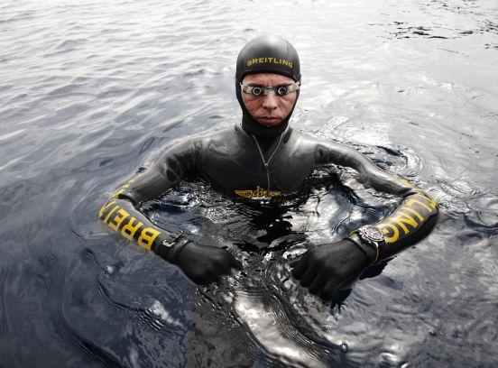Herbert Nitsch wearing Breitling Chronomat 44 Flying Fish