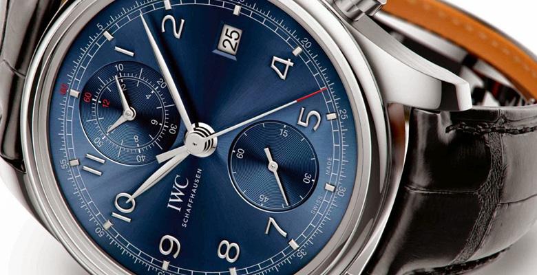 blue dial IWC Portuguese Chronograph Classic