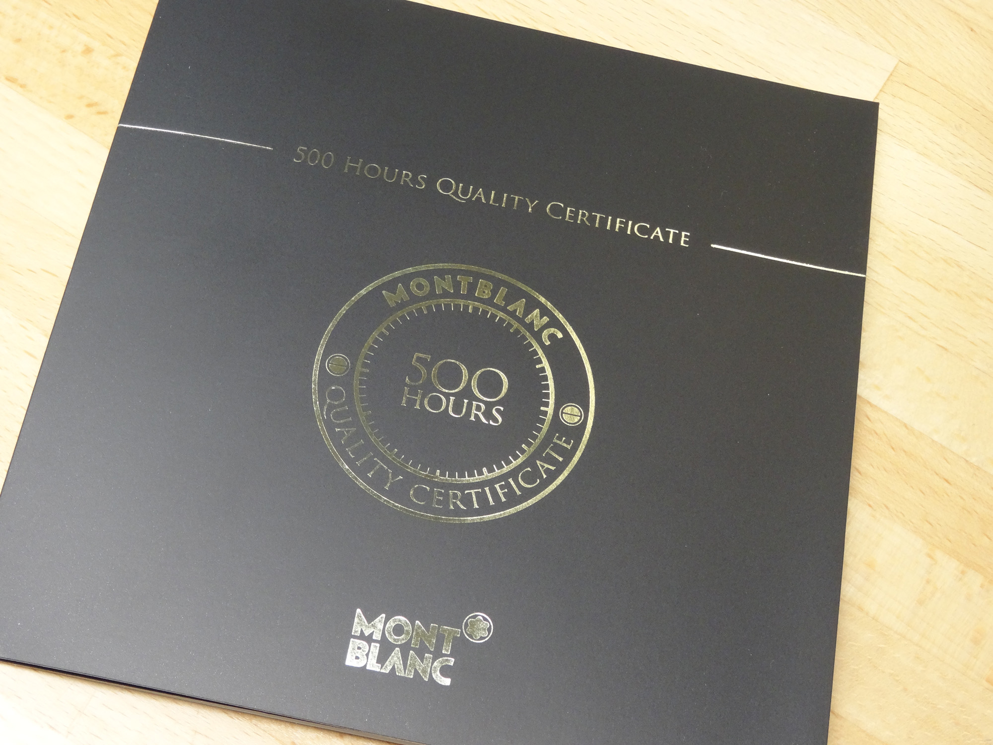 Montblanc 500 Hours Quality Certificate