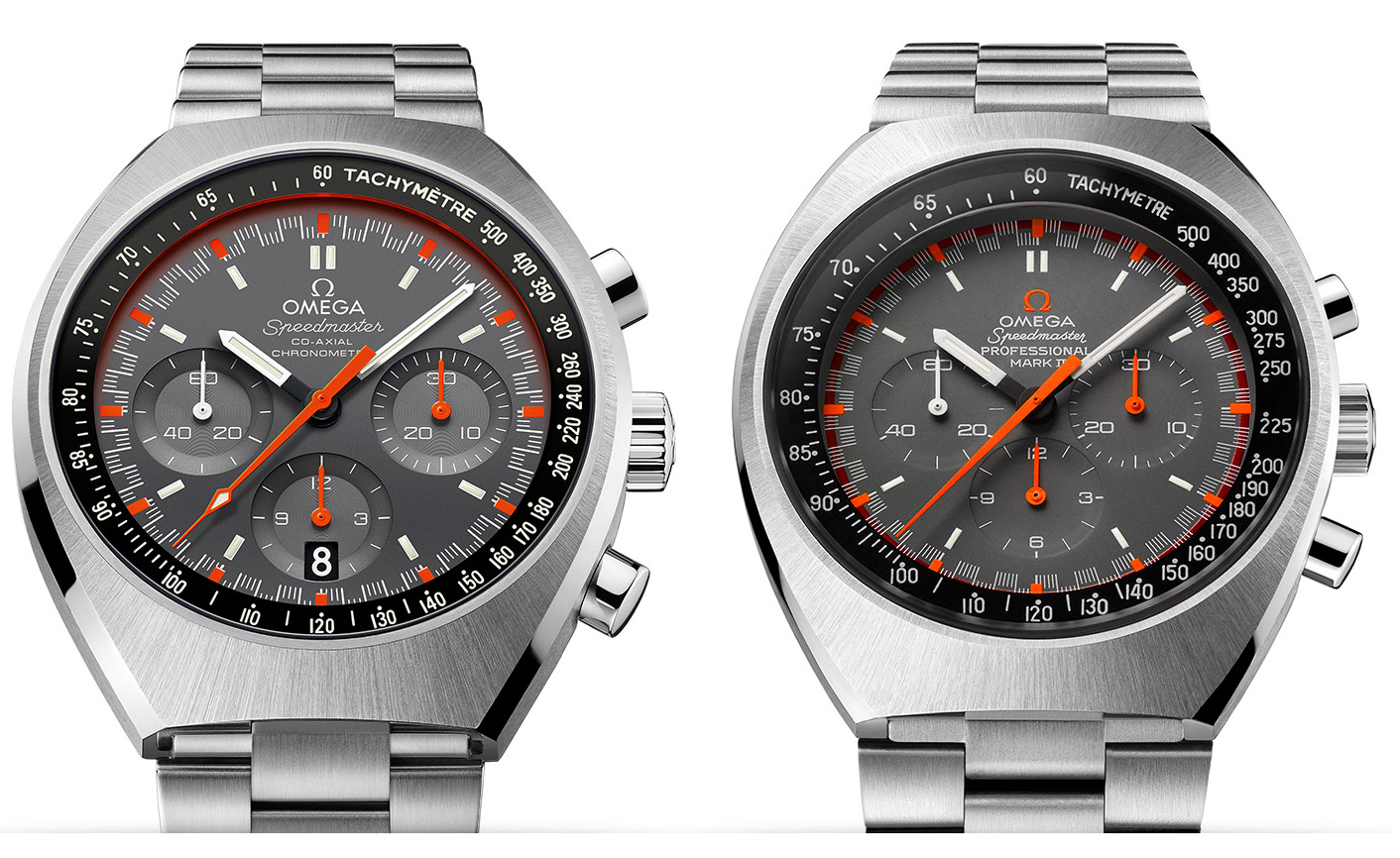 Omega Speedmaster Mark II - Dial Evolution (2014 Edition on the Left)