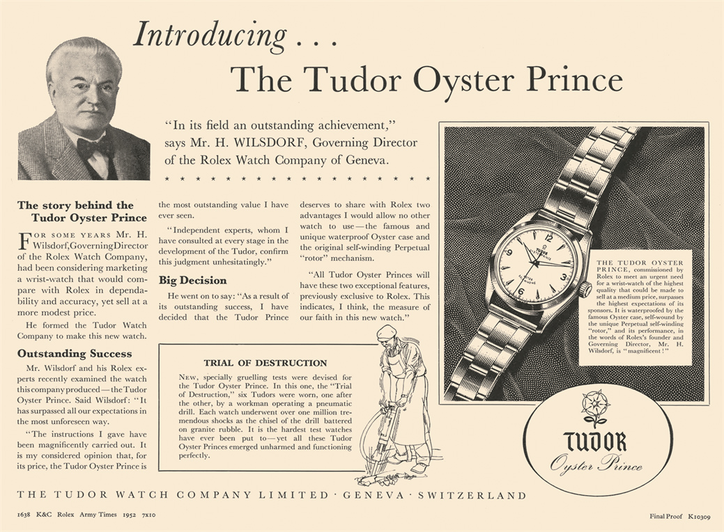 Vintage Tudor Advertisment Campaign for the Oyster Prince