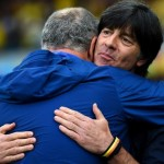 Luiz Felipe Scolari Brazil and Joachim Löw Germany - Hug prior to the match between Brazil vs Germany Semi finals World Cup