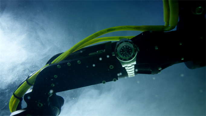 Rolex Deepsea Challenge wristwatch strapped to the Deepsea Challenger submersible