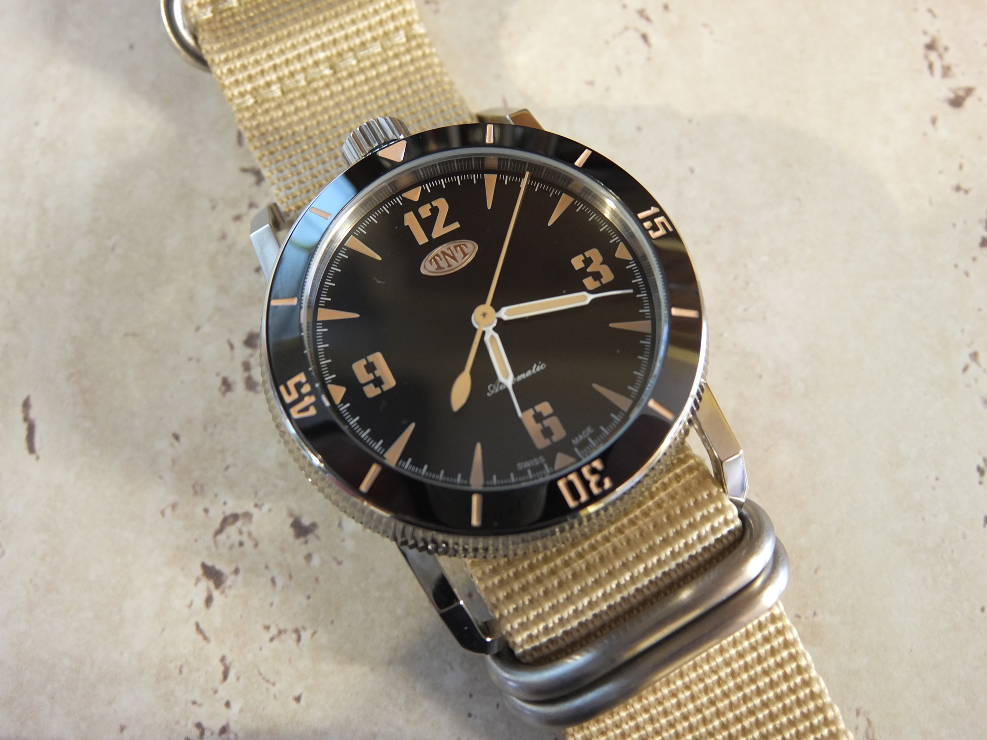 The TNT Challenger 1 watch with NATO Strap