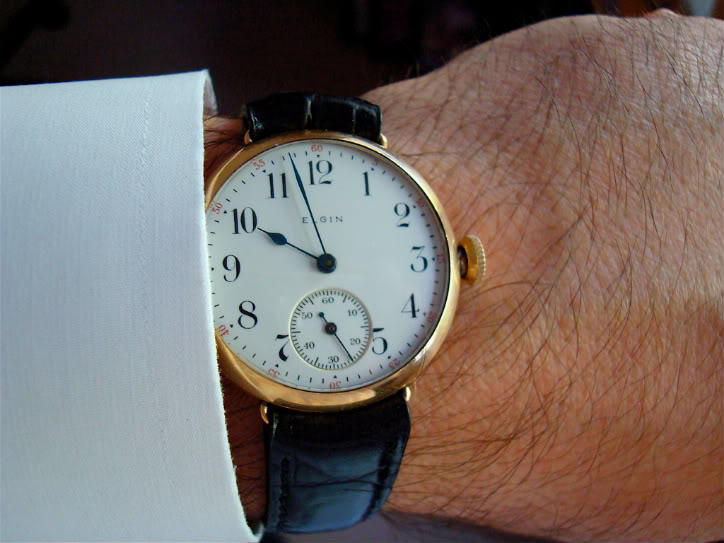 A converted Elgin pocket watch, circa 1907
