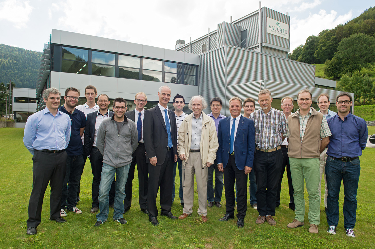 Project team in front of manufacture Vaucher