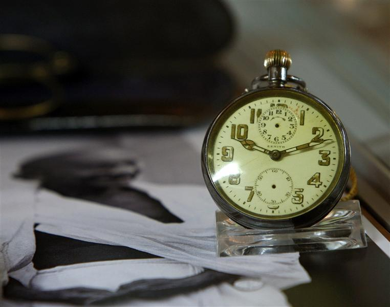 Zenith Pocketwatch that was owned by Indian independence leader Mahatma Gandhi is on display before being auctioned at Antiquorum Auctioneers in New York March 5, 2009. Several items that belonged to Gandhi were sold for $1.8 million on Thursday despite a last minute bid by the seller to withdraw them from auction.  (Credits © REUTERS/Brendan McDermid)