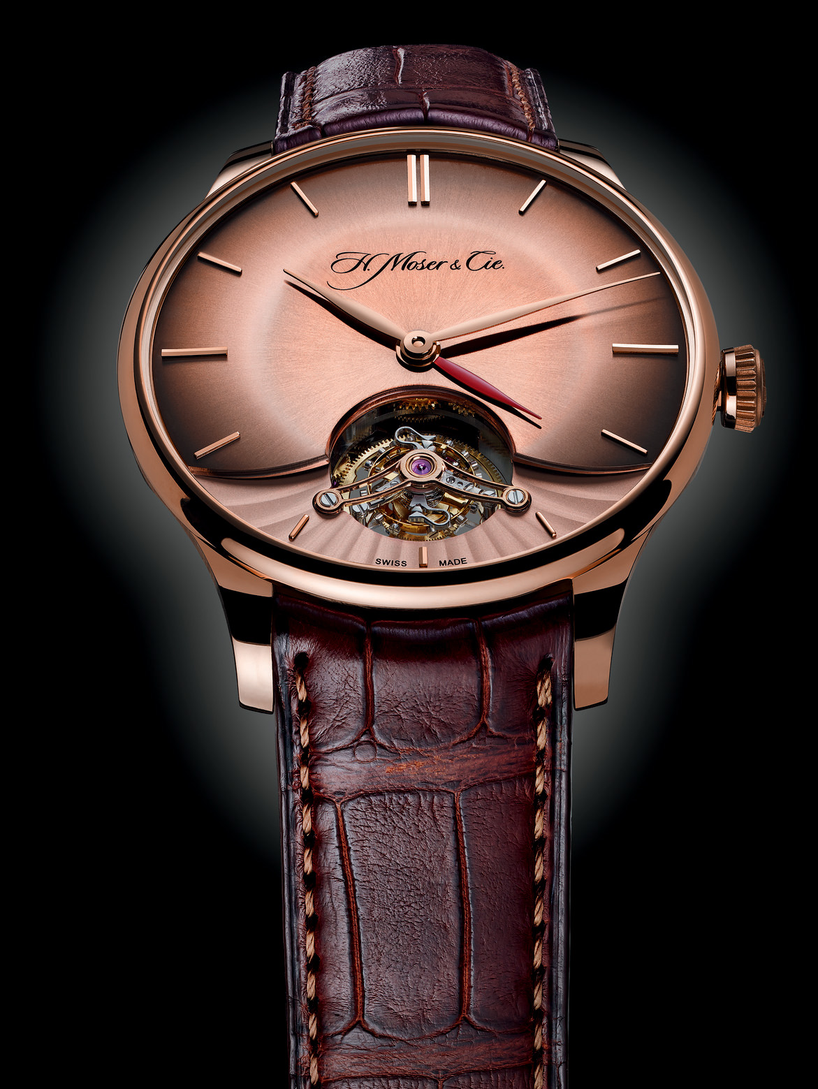 H. Moser & Cie Venturer Tourbillon Dual Time - Red Gold Fumé Dial