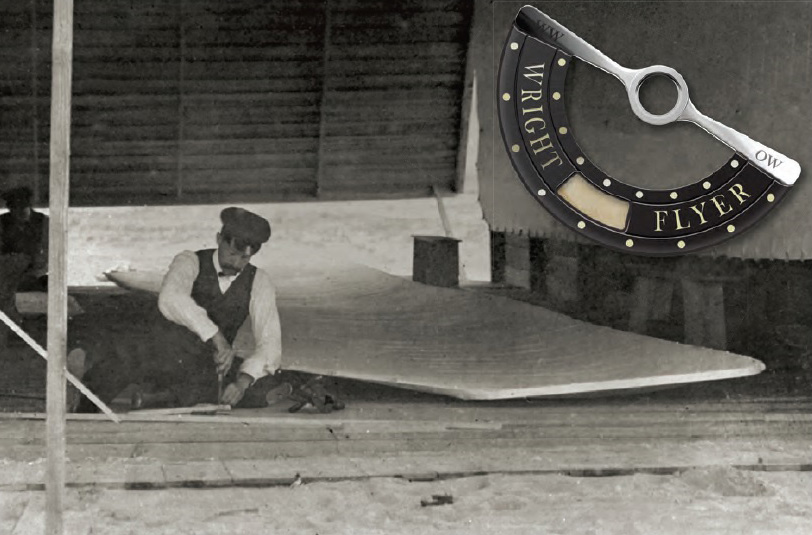 This precious wing fabric is incorporated into the center of each Bremont Wright Flyer rotor