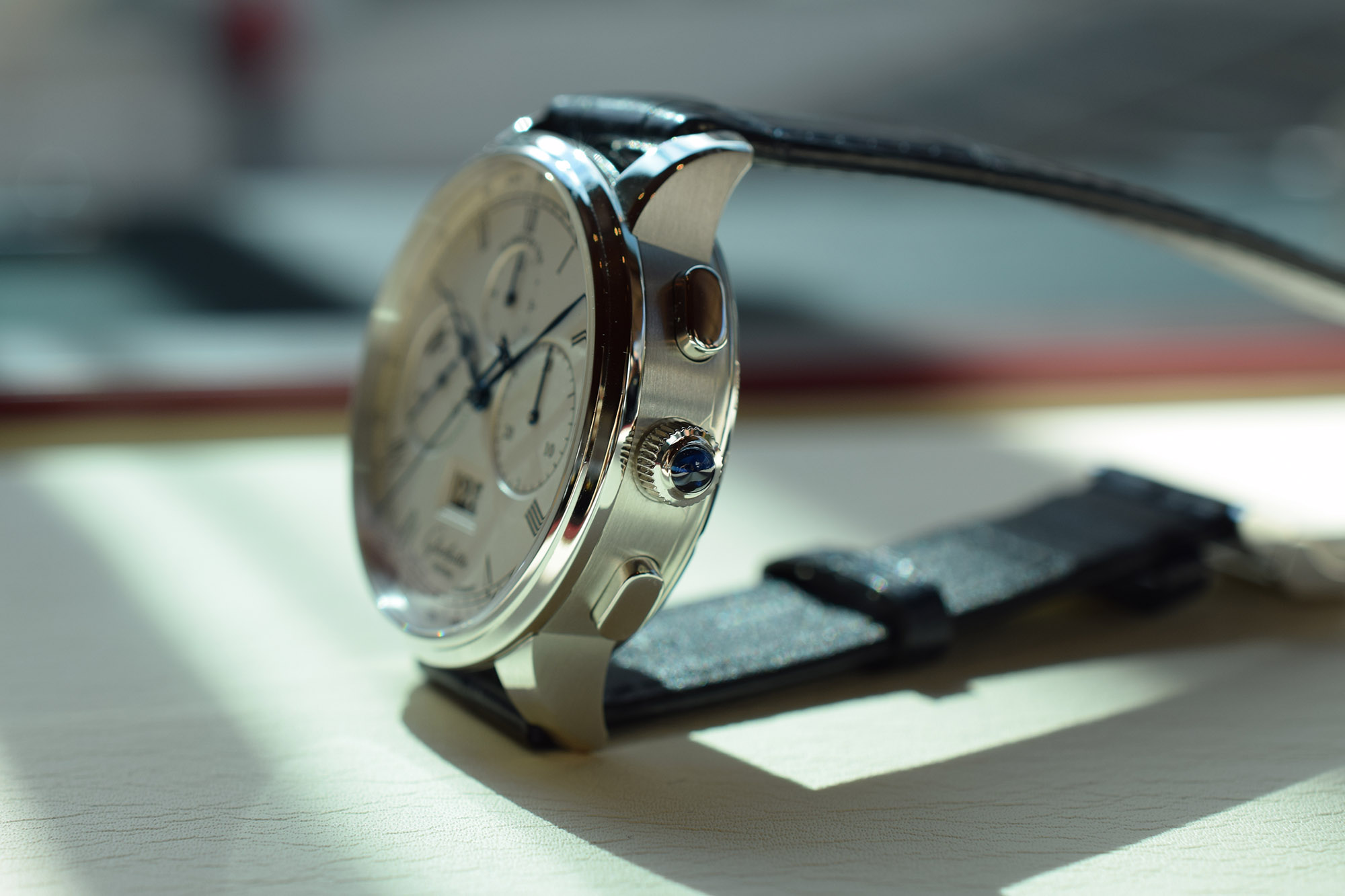 Glashütte Original Senator Chronograph Panorama Date - Crown & Pusher