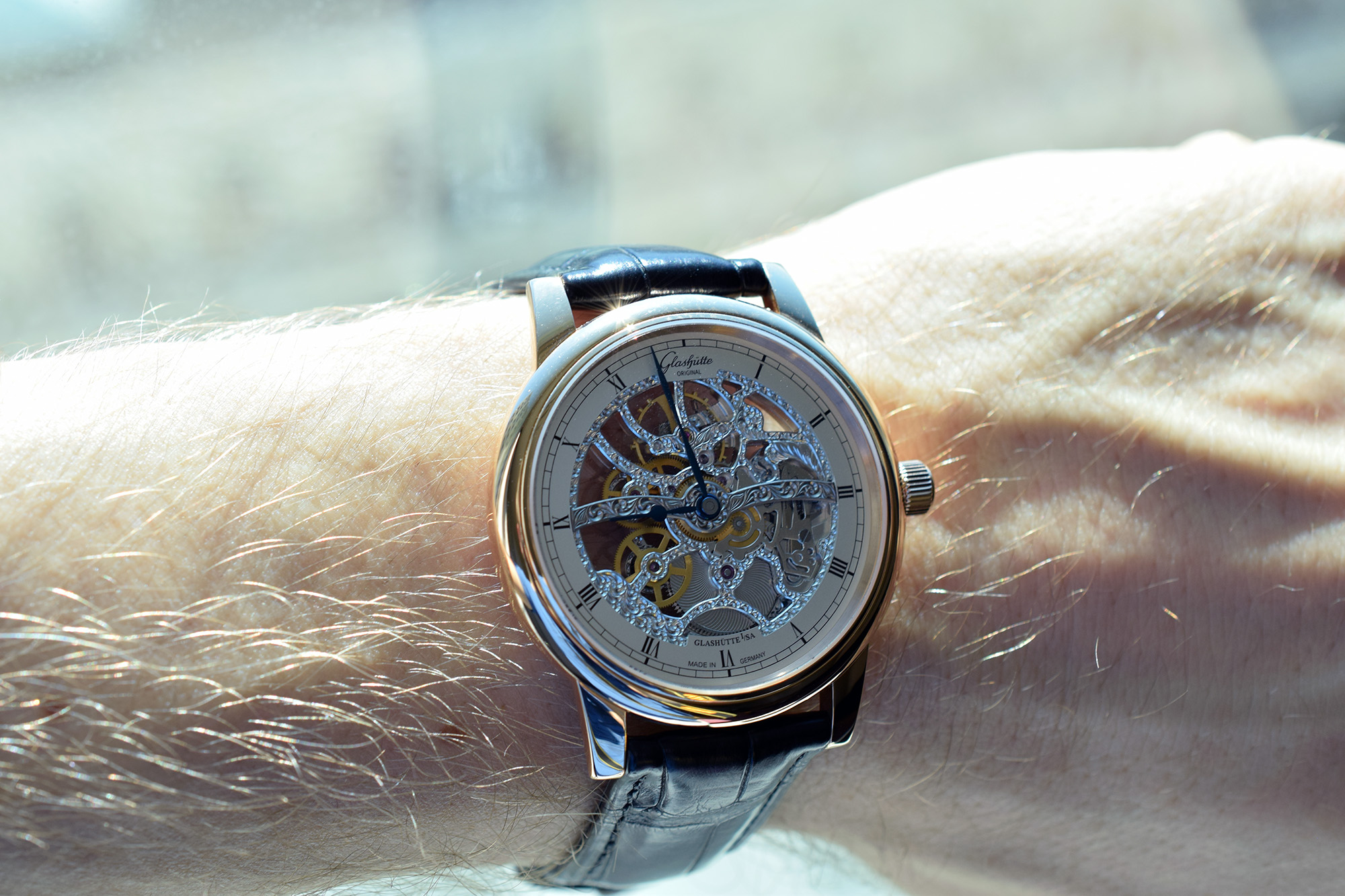 Glashütte Original Senator Manual Winding Skeletonized Edition - Wristshot