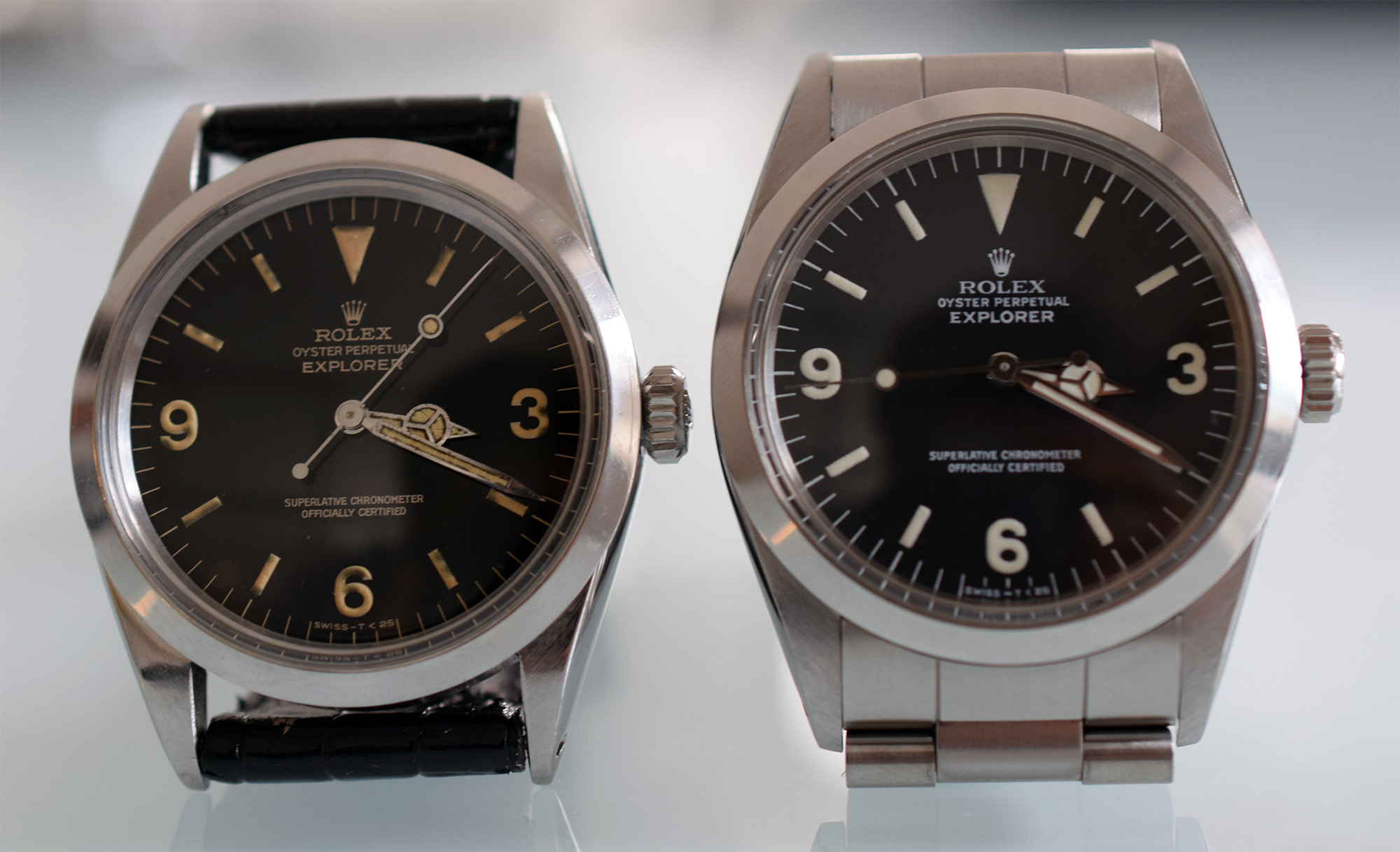 Rolex Explorer Ref. 1016 (1965) and R-series (1987)