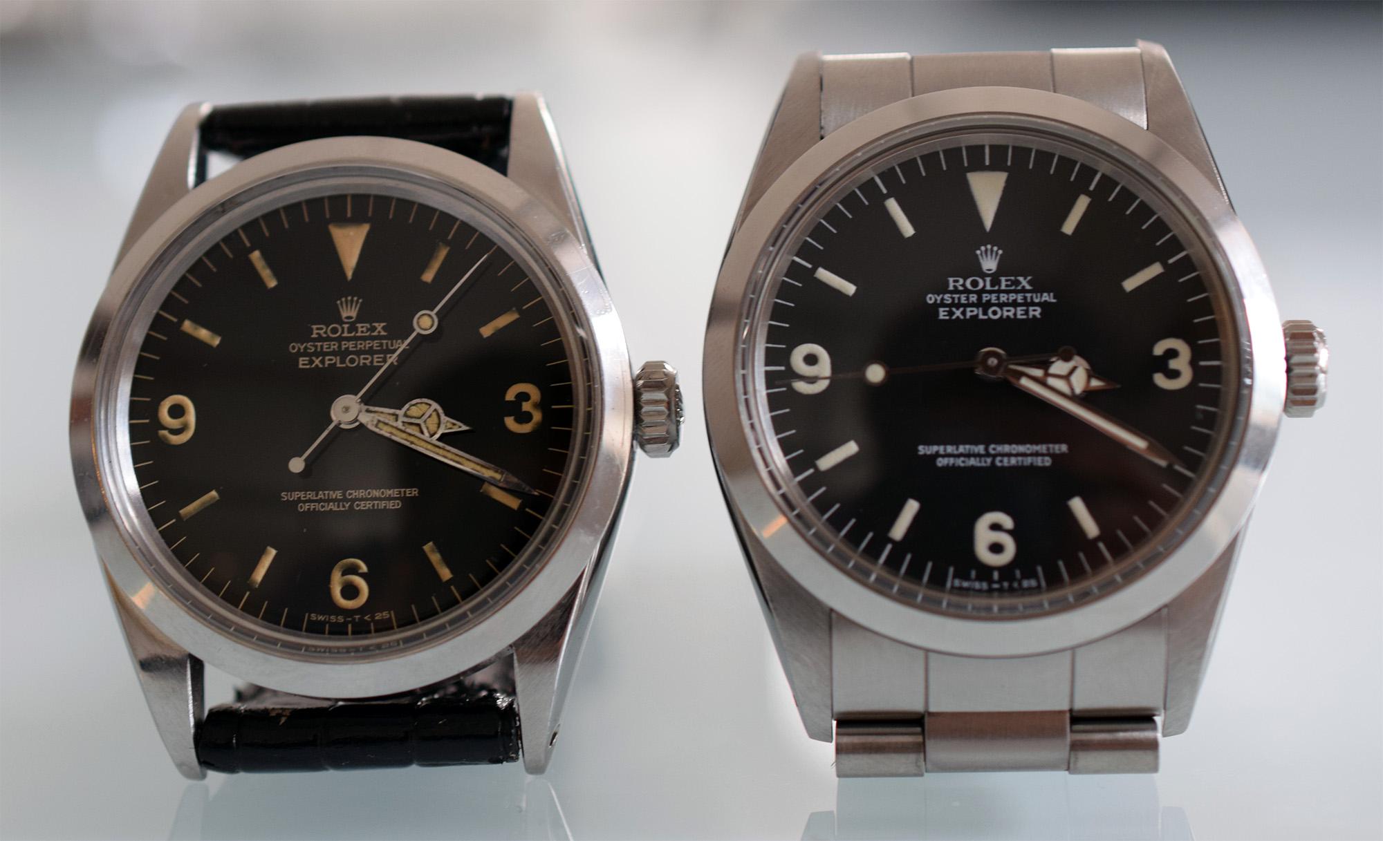 Rolex Explorer Ref. 1016 (1965) and R-series (1987)